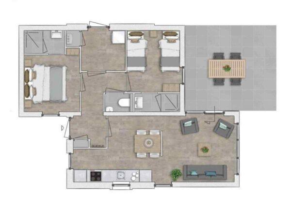 Vakantiehuis ZE725 - Nederland - Zeeland - 4 personen - plattegrond