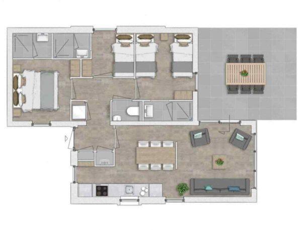 Vakantiehuis ZE726 - Nederland - Zeeland - 6 personen - plattegrond